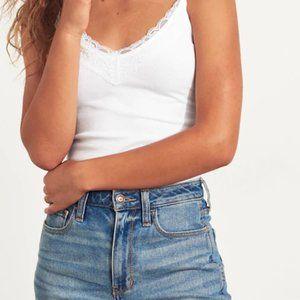 Hollister White Lace Trim Wrap Camisole Tank Top